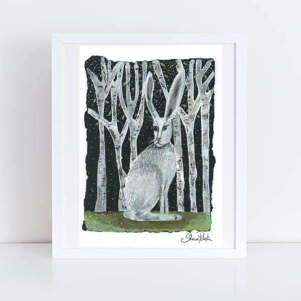 Image of Birch Rabbit PRINT