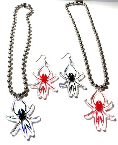 Image of Black Widow Earrings and Necklace Set