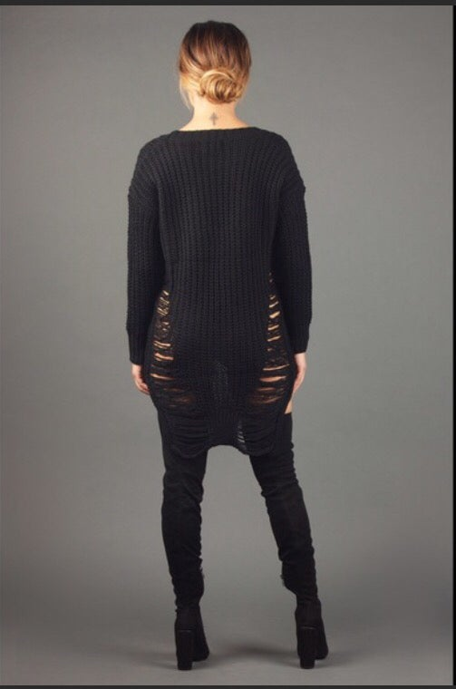 Image of Distressed Cardigan Black