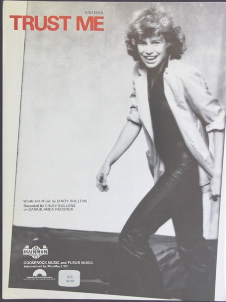 Image of Vintage Sheet Music TRUST ME 1980 CINDY BULLENS on CASABLANCA RECORDS Gooserock