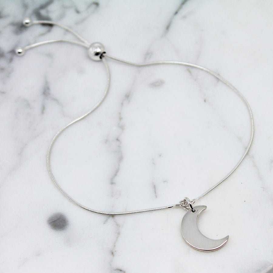 Image of Little Moon Sterling Silver Slider Bracelet