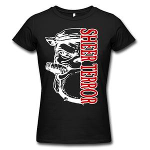 """Image of SHEER TERROR """"Bulldog Vertical Logo"""" Girlie Shirt"""