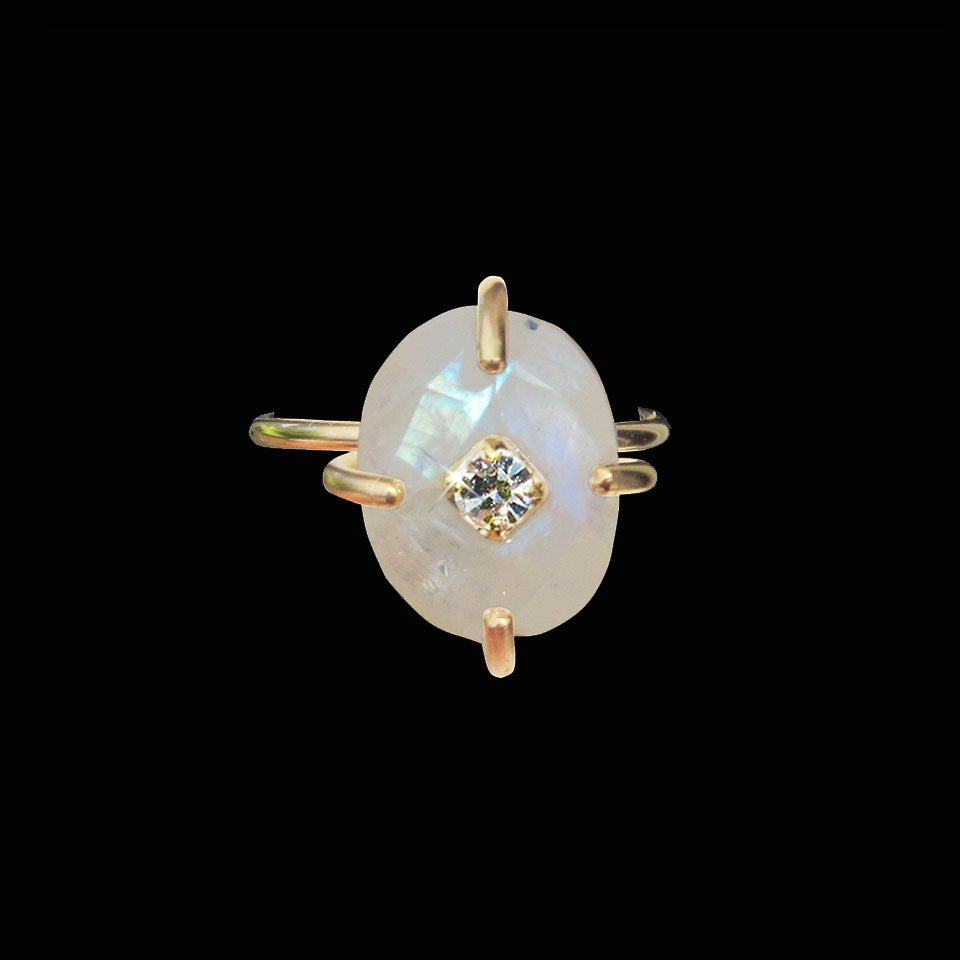 Image of Oval Rainbow Moonstone Ring