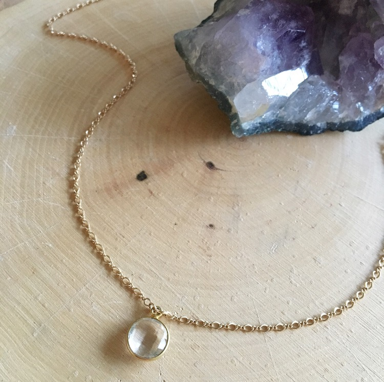 Image of 14k gold filled crystal quartz pendant choker