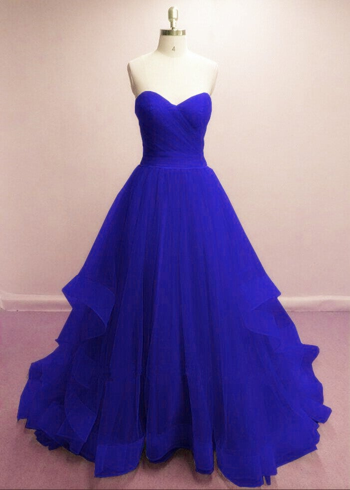 Pretty Royal Blue Prom Gowns, Blue Evening Dresses, Tulle Formal Gowns 2018
