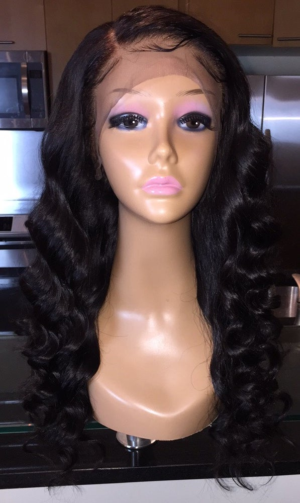 """Image of Peruvian Body Wave 18"""" Custom Lace Frontal Wig!"""