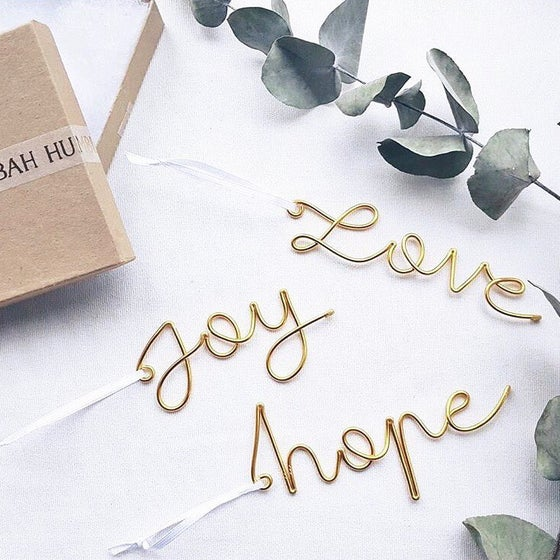 Image of Joy, love, hope- script tree decorations