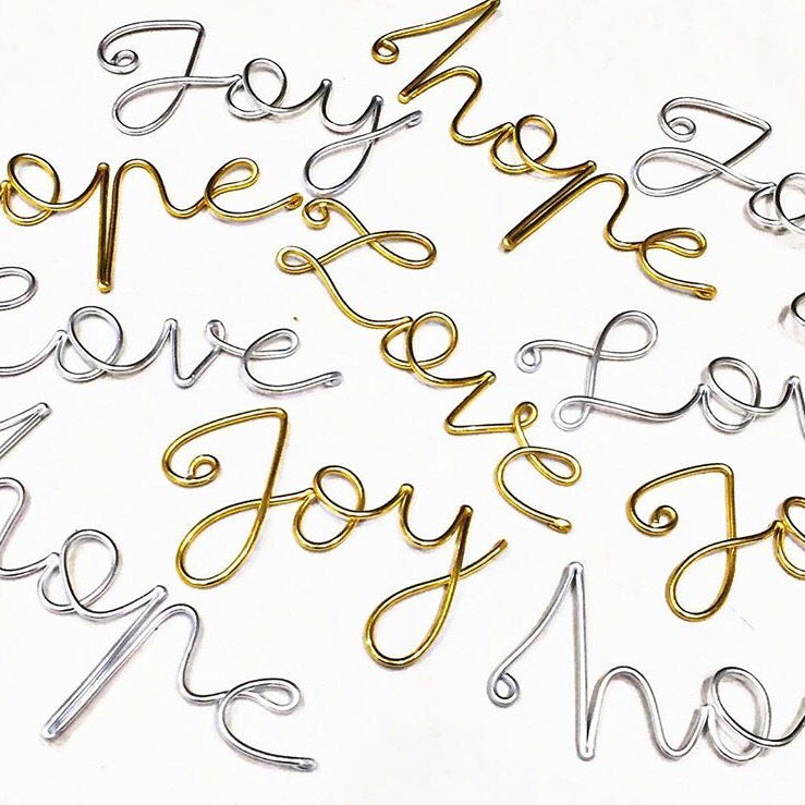 Joy, love, hope- script tree decorations