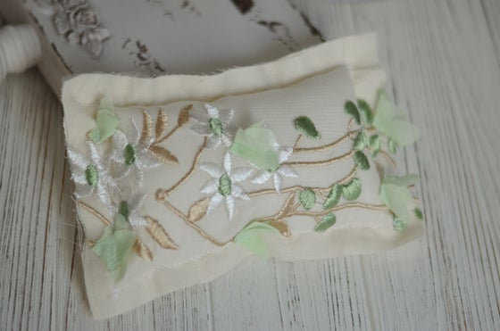 Image of Mint, gold embroidery pillow