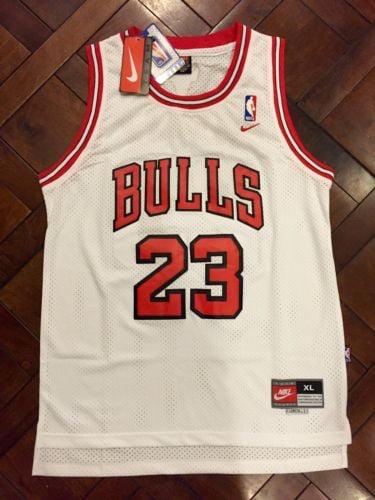 Image of Chicago Bulls Jordan #23 White Retro Swingman Nike NBA Jersey