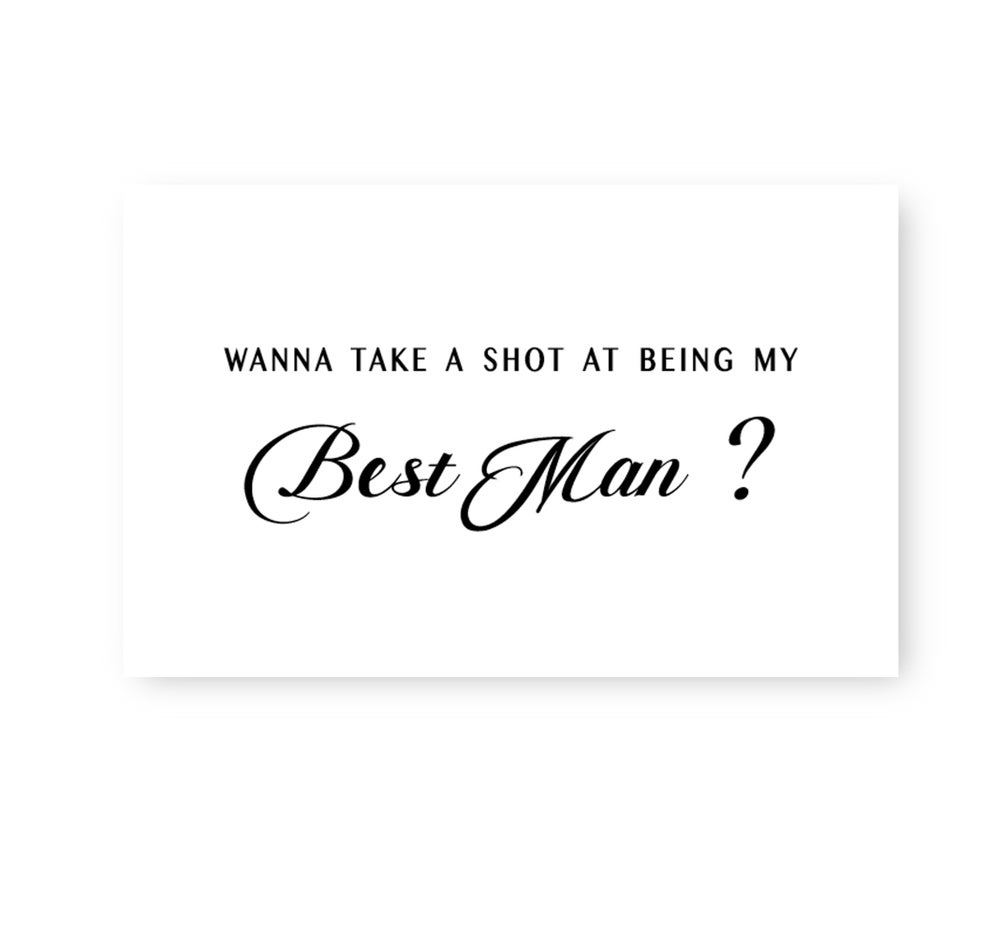 Image of Monochrome bridal proposal card for the boys