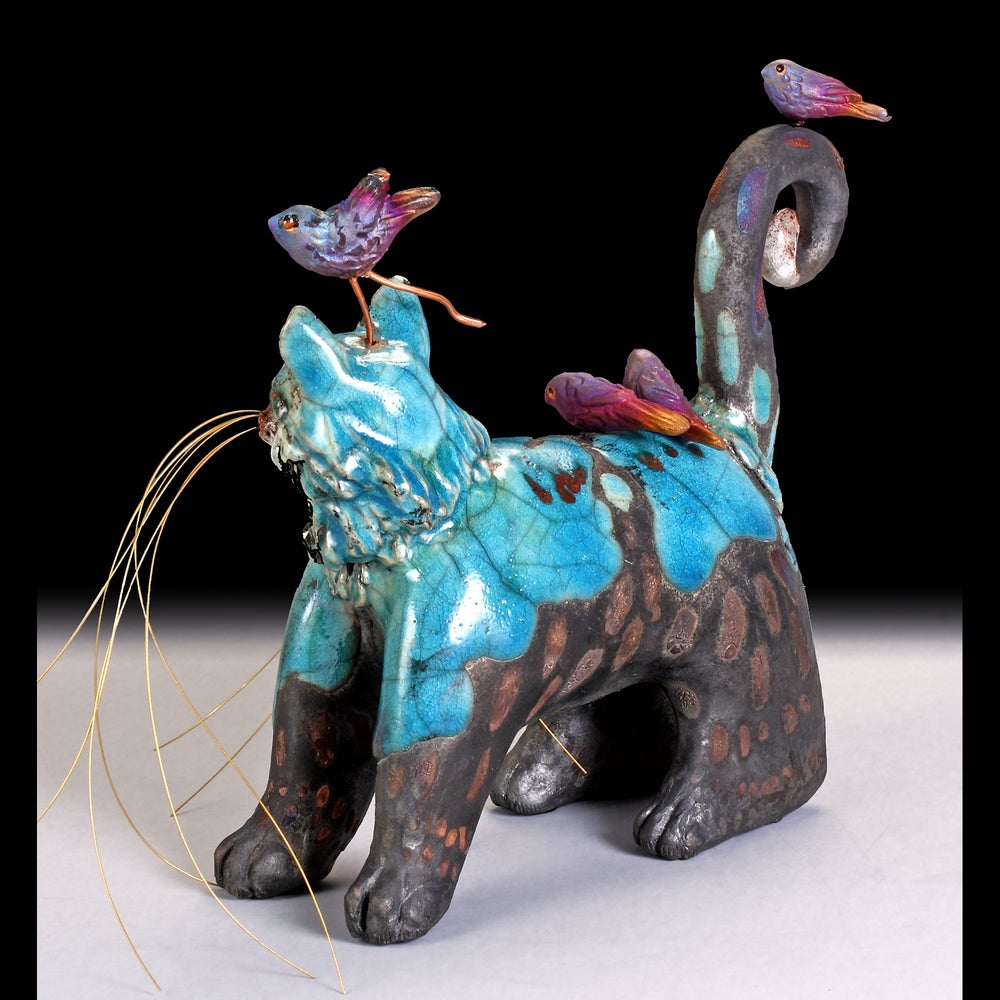 Image of Ceramic Raku Cat Sculpture -  Tormented Thomas