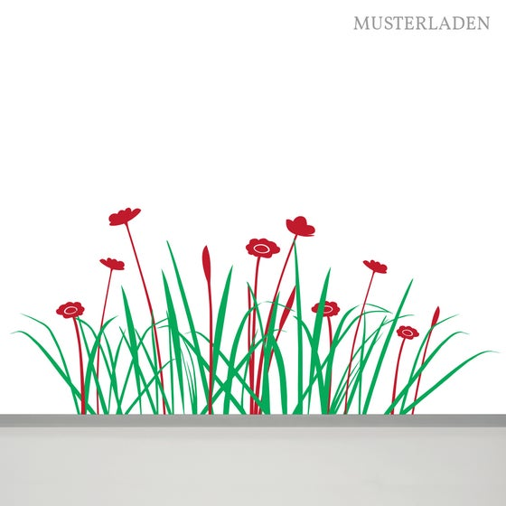 Image of Wiese mit Blumen Wandtattoo