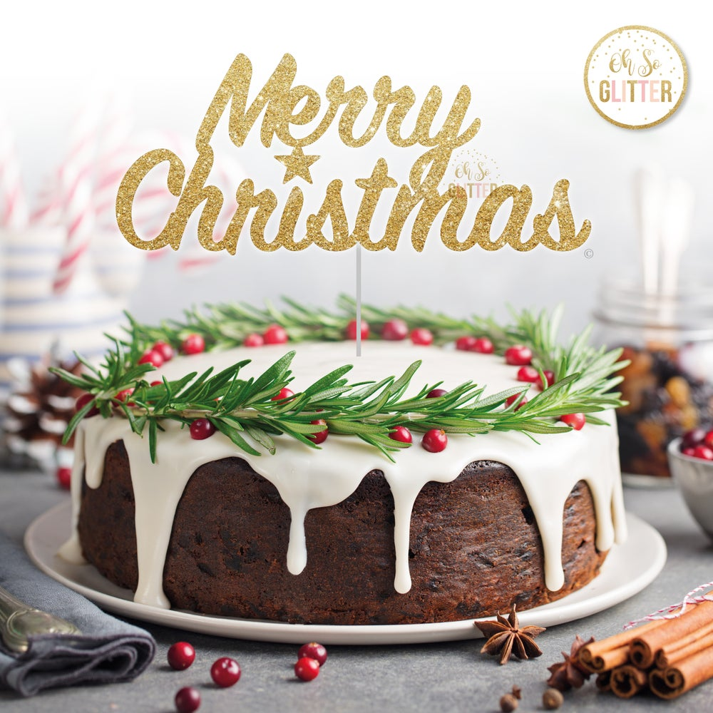 Image of Merry Christmas star cake topper