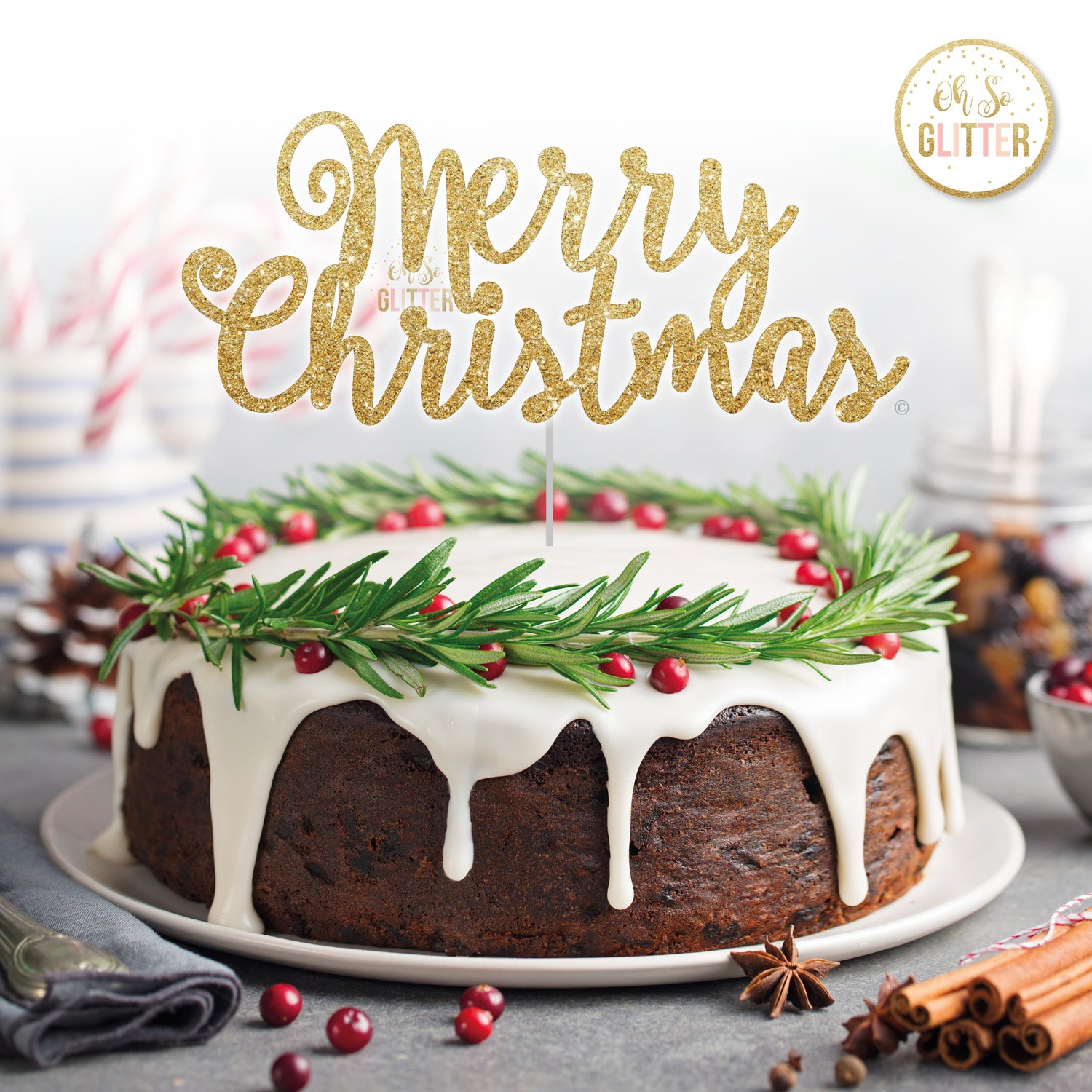 Image of Merry Christmas cake topper (b)