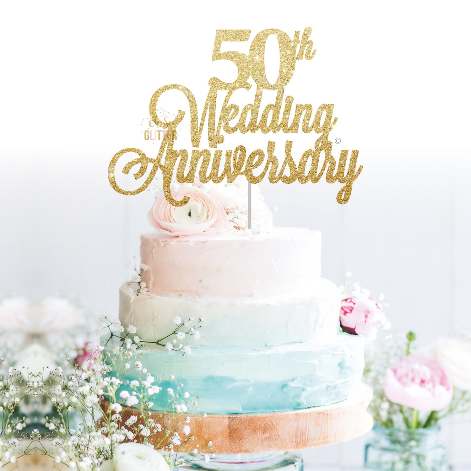 Image Of 50th Wedding Anniversary Cake Topper