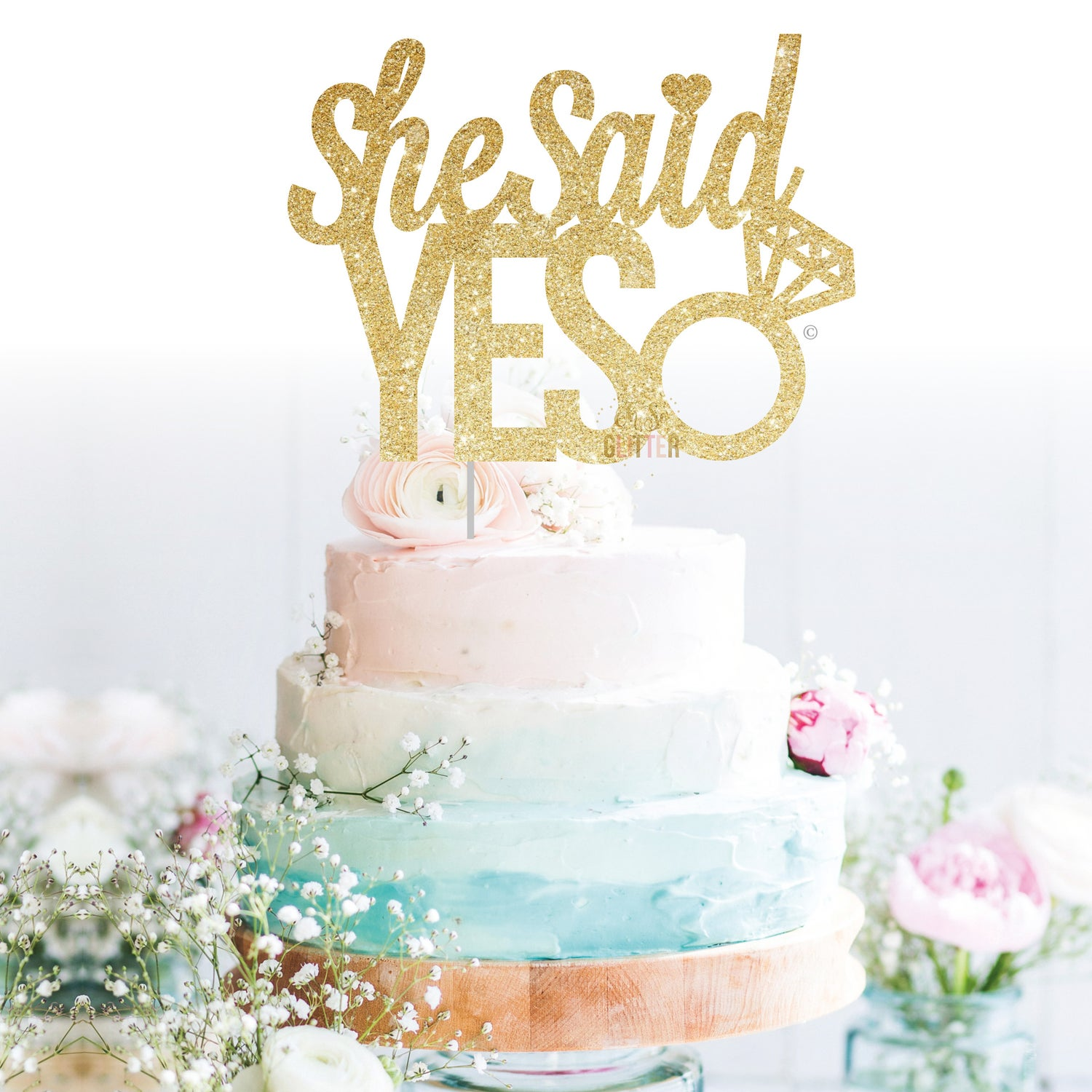 Image of She Said YES cake topper