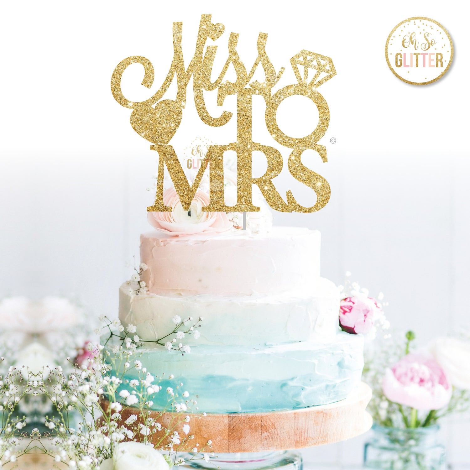 Image of Miss to Mrs cake topper