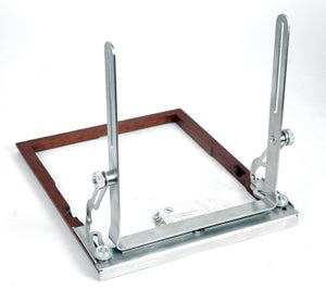 Image of Deardorff V8 8X10 front swing assembly with wooden frame