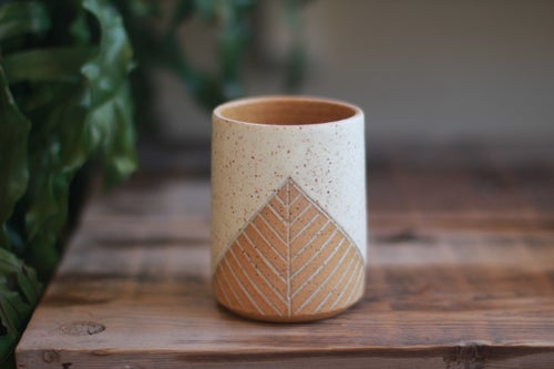 Image of Speckled White Pyramid Wine/Whiskey Tumbler