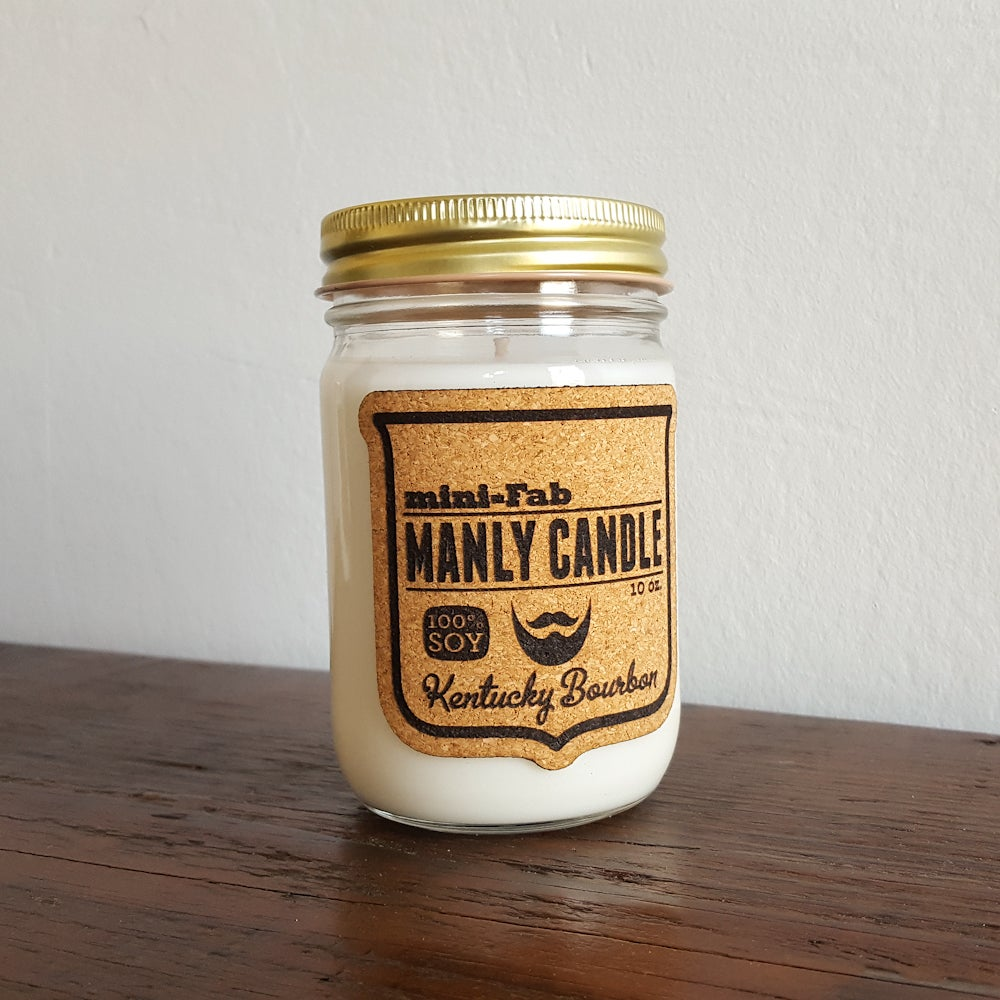 Image of Manly Candle - Kentucky Bourbon Scented Natural Soy Man Candle Hand Poured with Cotton Wick