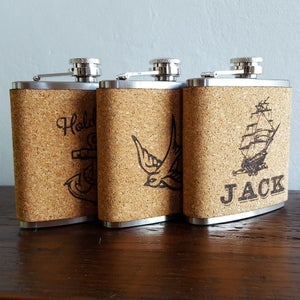 Image of Personalized Cork Flask - 6 oz. Stainless Steel Hip Flask - Ship