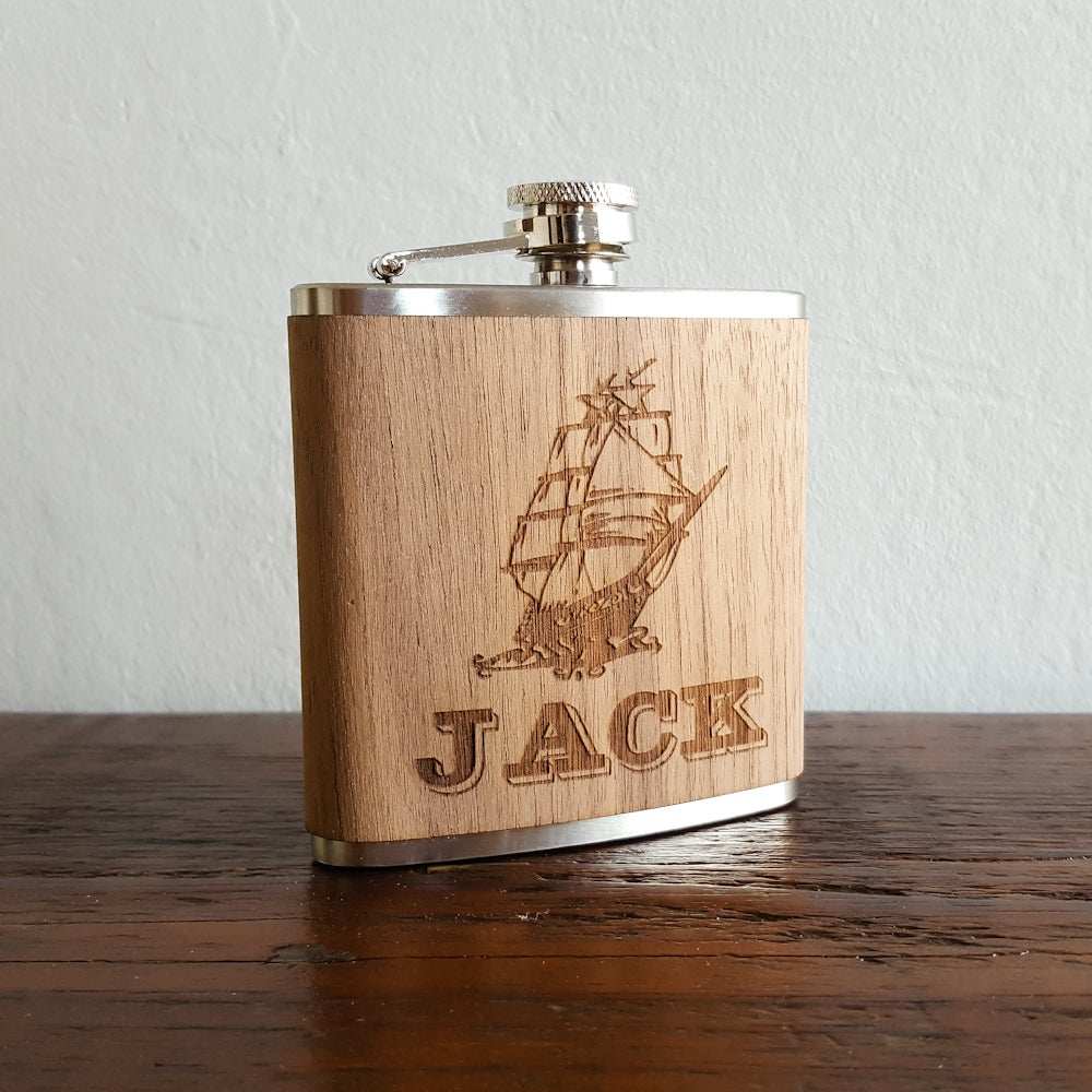 Image of Personalized Wood Flask - 6 oz. Stainless Steel Hip Flask - Walnut - Ship