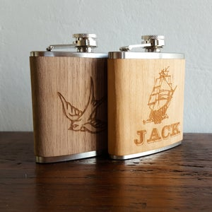 Image of Personalized Wood Flask - 6 oz. Stainless Steel Hip Flask - Walnut - Sparrow