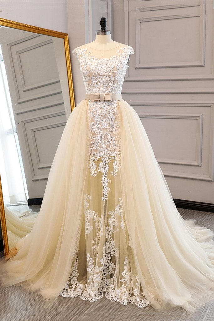 Gorgeous Tulle Cap Sleeves Champagne Prom Gowns, Beautiful Party Dresses, Evening Gowns