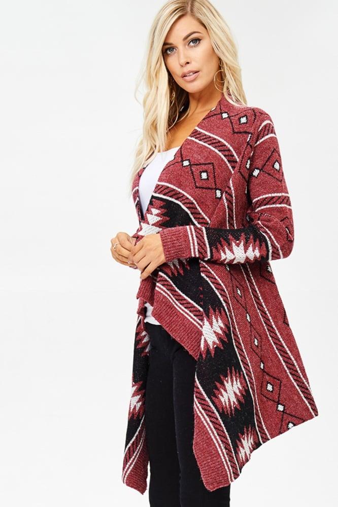Image of Knit Cardigan Aztec Print Burgundy