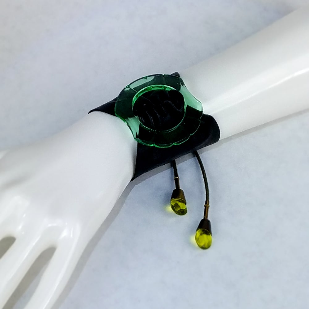 Image of Green  Czech Glass with Black Leather