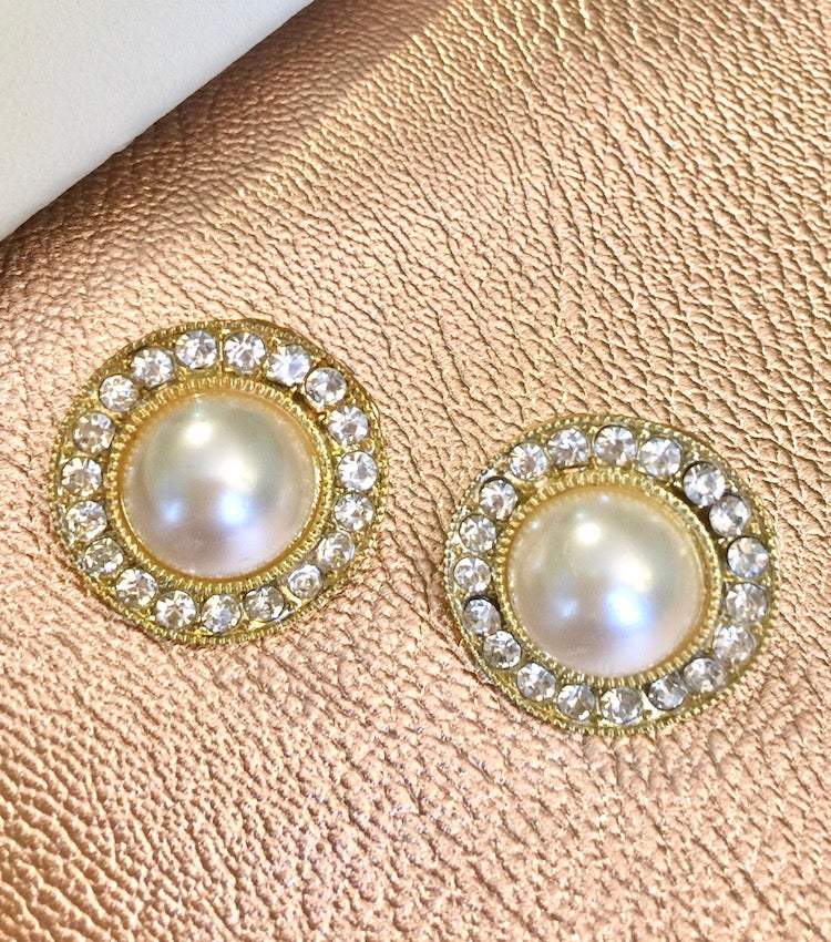 Image of Faux Pearl Crystal Earrings (More Colors)