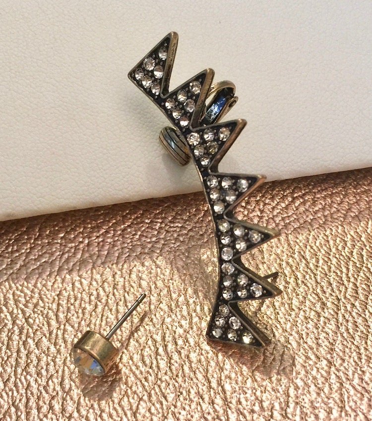 Image of Crystal 2pc Left Ear Cuff with Stud