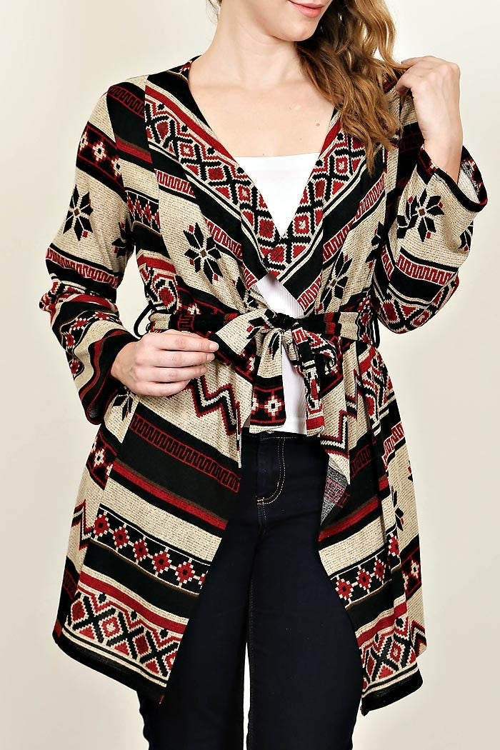 Image of PLUS SIZE AZTEC PATTERN SWEATER CARDIGAN