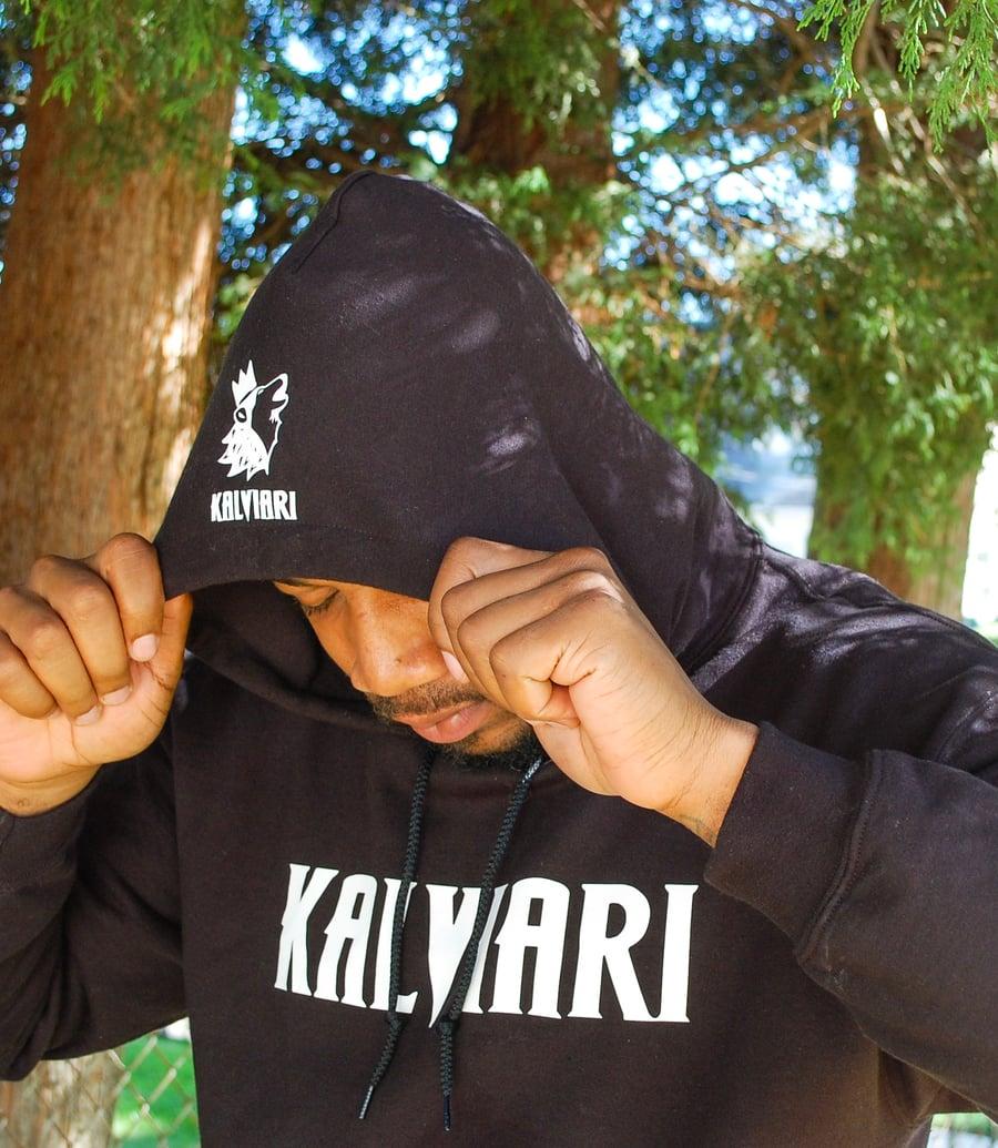 Image of KALVIARI SAMO WOLF MENTALITY PULLOVER HOODIE