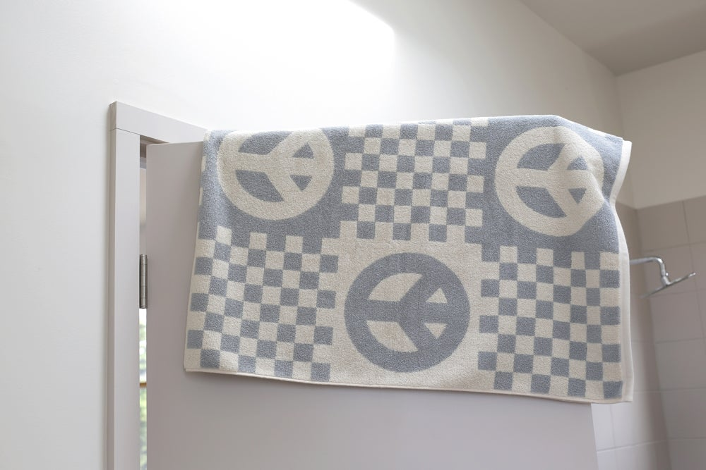 Image of Large Check Peace Towel <div> Gray & Scour</div>