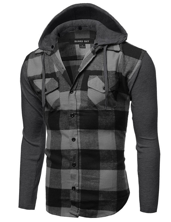 Image of MEN'S FLANNEL SHIRT with DETACHABLE HOOD