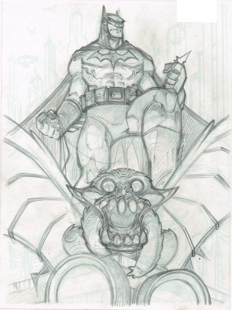 Image of Batman on Gargoyle prelim sketch