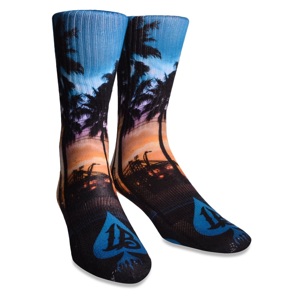 Image of LB CRANES N PALMTREES SUB SOCKS