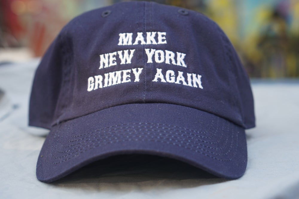 Image of MAKE NEW YORK GRIMEY AGAIN DAD HAT (NAVY BLUE WHITE FONT)