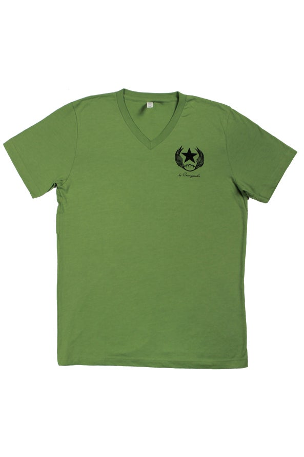Image of 1975 Heather Green Vneck T-shirt