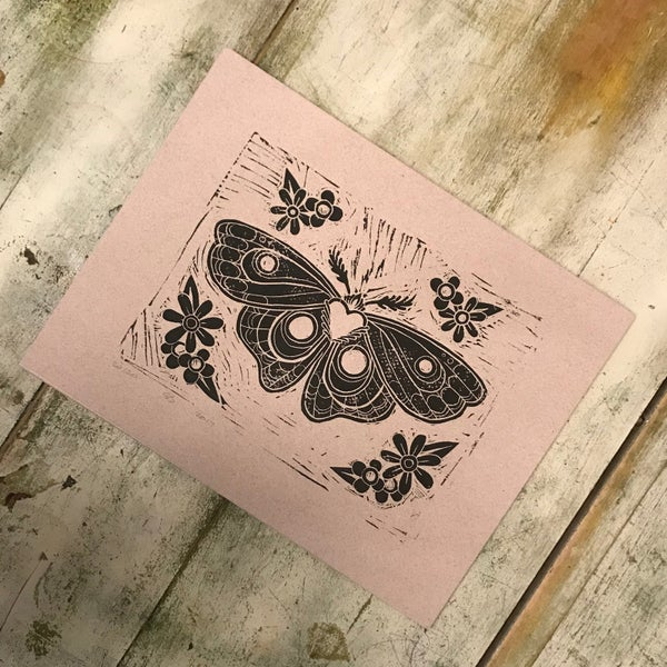 Image of Moth Linocut