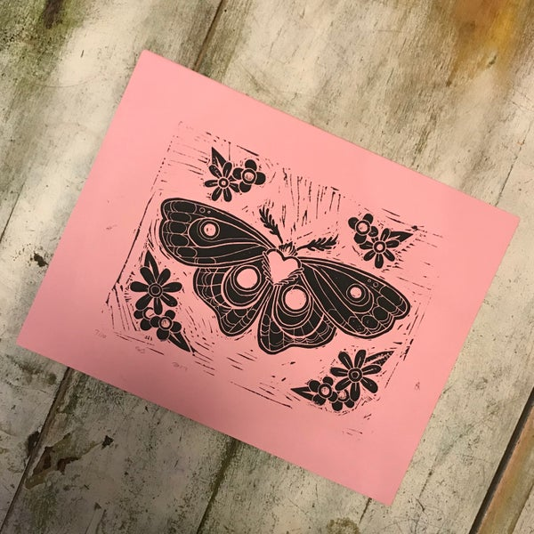 Image of Moth Linocut - Limited run.