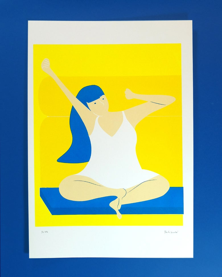 Image of Girl stretching ~ silkscreen