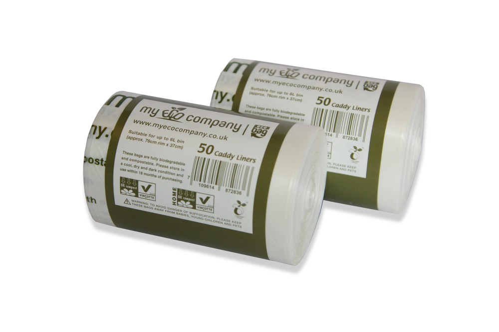 Image of 5 / 6 Litre Biodegradable & Compostable Food Waste Bin Bags - 100 Caddy Liners