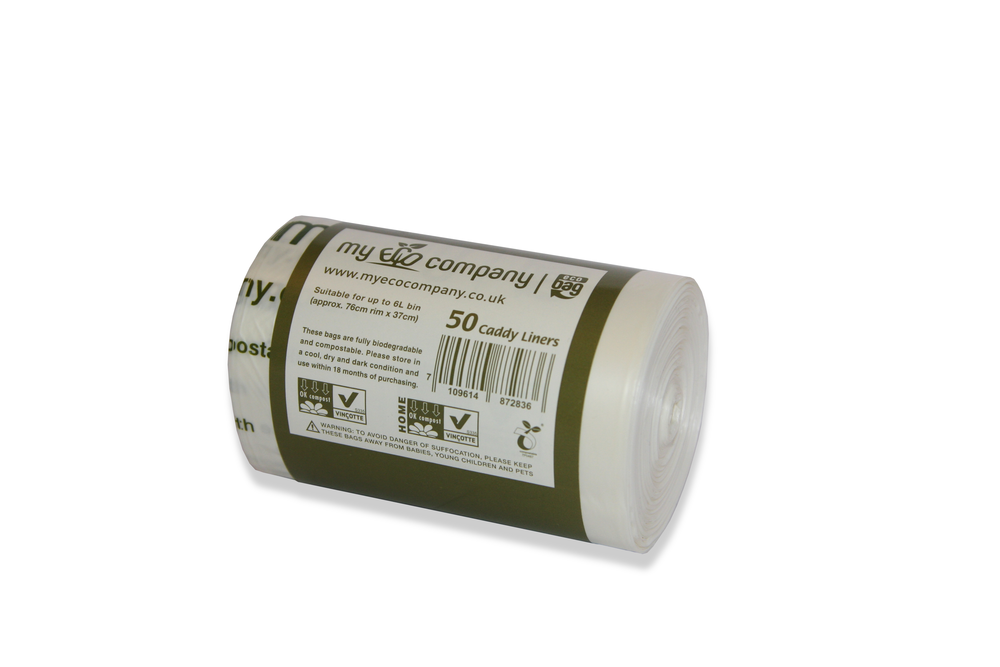 Image of 5 / 6 Litre Biodegradable & Compostable Food Waste Bin Bags - 50 Caddy Liners