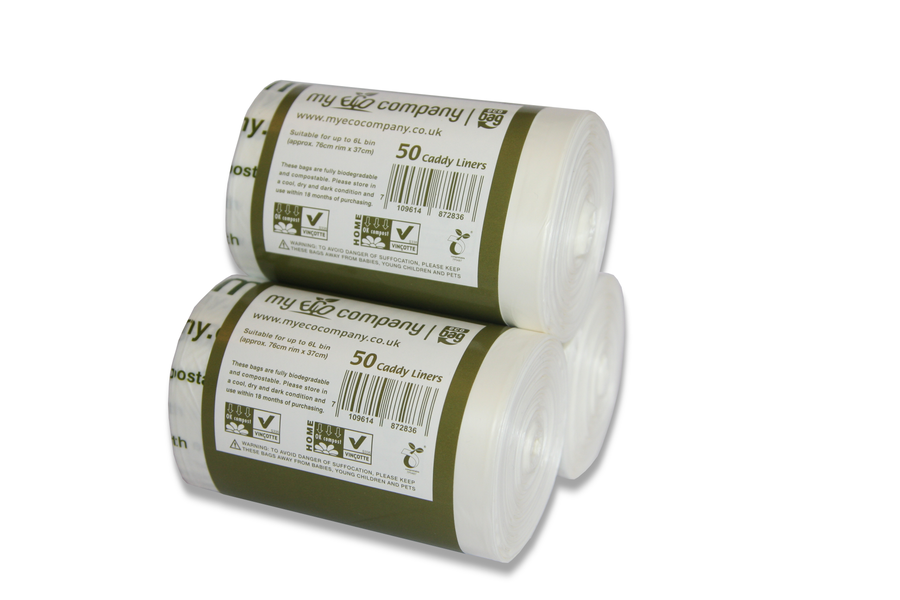 Image of 5 / 6 Litre Biodegradable & Compostable Food Waste Bin Bags  - 150 Caddy Liners