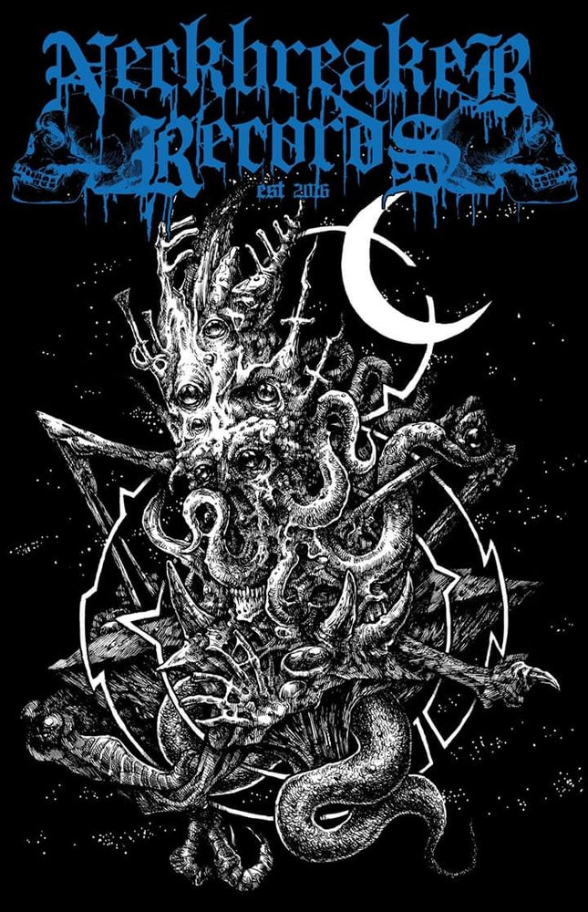 Image of Neckbreaker Records Chtulhu Shirt Logo Blue