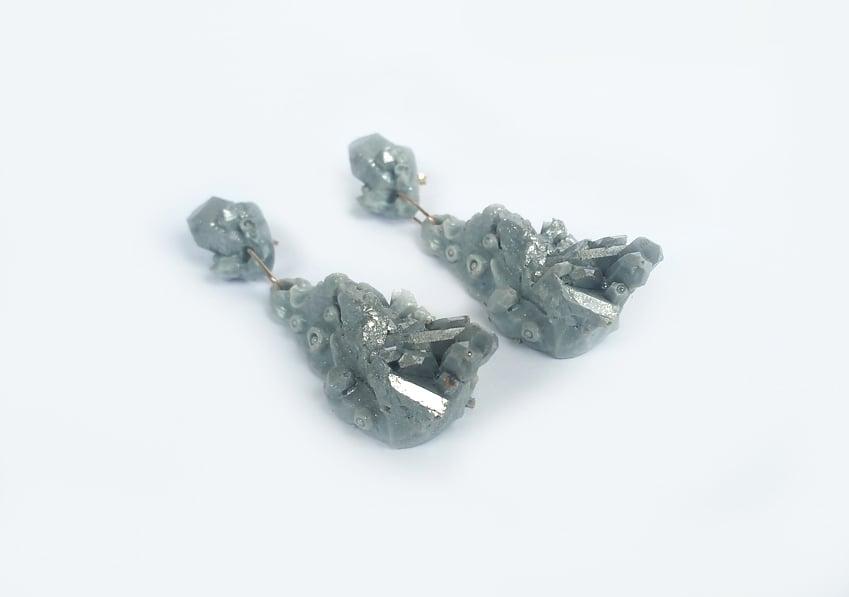 Image of CHRYSALIS DROP EARRINGS - Grey