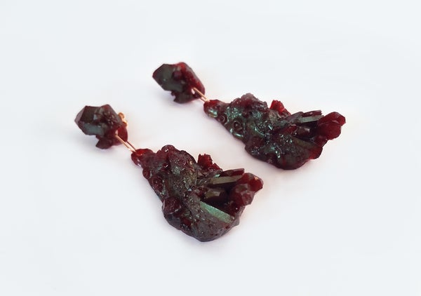 Image of CHRYSALIS DROP EARRINGS - Blood Red